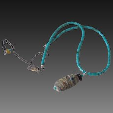 Turquoise Heishi and Handmade Lampwork Pendant Necklace by Pilula Jula 'Totem'