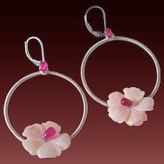 Ruby Flower Hoop Earrings by Pilula Jula 'Plumeria'