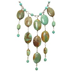 Turquoise Statement Bib Necklace by Pilula Jula 'Turbo Style'