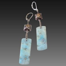 Blue Hemorophite Slice Earrings by Pilula Jula 'Quiet Game'