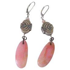 Specialty Cut Pink Peruvian Opal Earrings by Pilula Jula 'Bridge of Bones II'