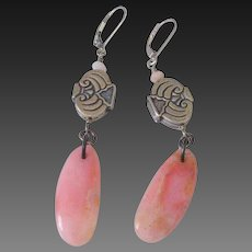 Specialty Cut Pink Peruvian Opal Earrings by Pilula Jula 'Bridge of Bones II'