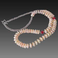Unique Cultured Freshwater Pearl & Coral Necklace by Pilula Jula 'The Mandarin'