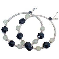 Prehnite & Spinel Hoop Earrings by Pilula Jula 'Final Masquerade'