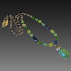 "Variscite Chrysoprase Peridot 30"" Necklace by Pilula Jula 'Breaking Waves'"