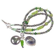 Gemstone Three Strand Charm Bracelet by Pilula Jula 'In The Woods'