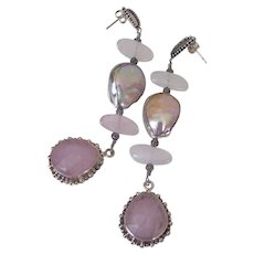 Morganite & Cultured Freshwater Pearl Earrings by Pilula Jula 'Grace Lake'
