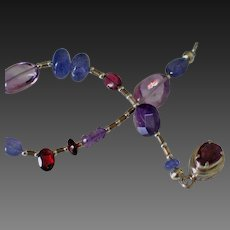 Tanzanite Amethyst Garnet Bracelet by Pilula Jula 'Electric Rainbows'