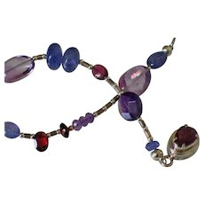 Tanzanite Amethyst Garnet Bracelet by Pilula Jula 'Electric Rainbows'