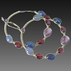 Tanzanite Amethyst Garnet Hoop Earrings by Pilula Jula ' Electric Rainbows'