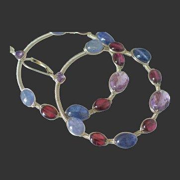 Tanzanite Amethyst Garnet Hoop Earrings by Pilula Jula ' Electric Rainbows'