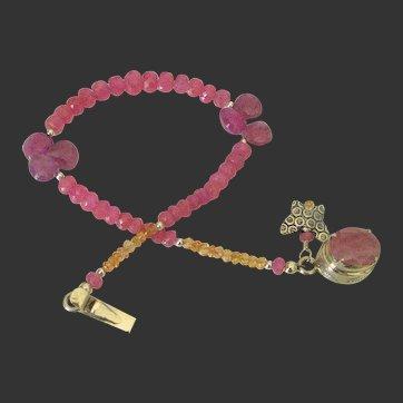 Pink & Orange Sapphire Charm Bracelet by Pilula Jula 'Kiss Me'