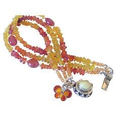 Sapphire Gemstone Three Strand Charm Bracelet by Pilula Jula 'Butterfly'