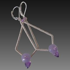 Amethyst & Lavender Lepidolite Kite Earrings by Pilula Jula 'Surface of Pluto I'