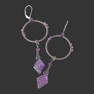 Amethyst Wire Wrapped Dangle Earrings by Pilula Jula 'Surface of Pluto II'