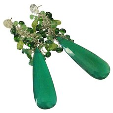 Green Onyx. Emerald. Chrome Diopside. & Tsavorite Garnet Tasseled Earrings by Pilula Jula 'Pendulum'