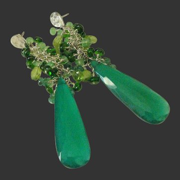Green Onyx. Emerald. Chrome Diopside. & Tsavorite Garnet Tasseled Earrings by Pilula Jula 'Pendulum'