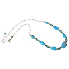 Gem Sleeping Beauty Turquoise Gold Fill Necklace by Pilula Jula 'Farside of the Moon'