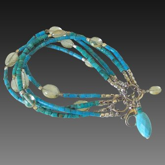 Turquoise & Scapolite 5 Strand Bracelet by Pilula Jula 'Pick Me Up'