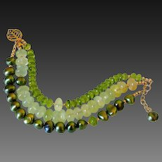 Triple Strand Green &  Gold Fill Gemstone Bracelet by Pilula Jula 'People Keep Talkin'