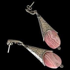 Rhodochrosite Contemporary Earrings by Pilula Jula 'Sweet Forgiveness'