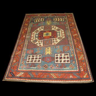 Persian Handmade Kazak Rug, Approx. 4'-7X6'-10