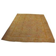 Antique handmade Turkish Oushak rug, ca. 1900, approx. 10'-0X14'-4