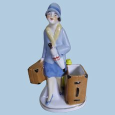 Art deco lady china vesta holder circa 1920's.