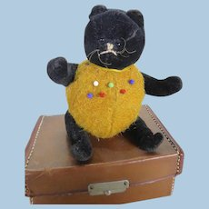 Early velvet and burlap toy pin cushion circa 1920's