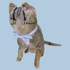 Early Steiff velvet cat circa 1907.
