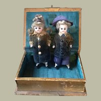 Pair of all bisque German dolls 3.5 inches
