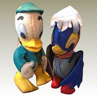 Pair of 1930's felt comic ducks inc. Louie