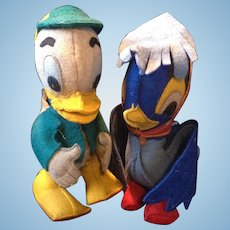 Pair of 1930's felt comic ducks inc. Louie