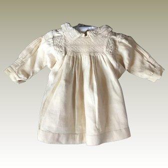 Victorian smocked linen dolls dress