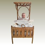 Gerbruder Heubach character baby doll and bed