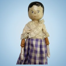 Peg wooden carved doll 11.5 inches tall