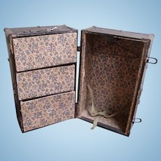 Antique dolls trunk with drawers and hanging section
