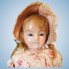 English slit head wax over composition doll c.1850
