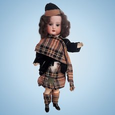"Small Bisque headed Gerbruder Heubach ""Scottish doll"