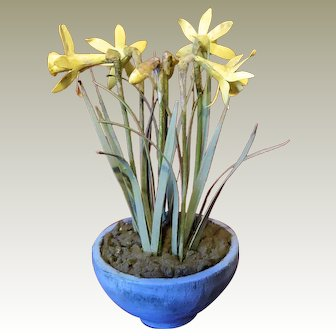 Artist made cold painted metal daffodils in wooden pot