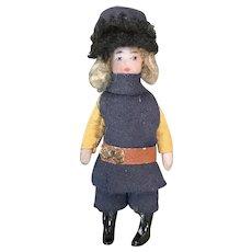 Pair French all bisque Mignonettes Lilliput dolls