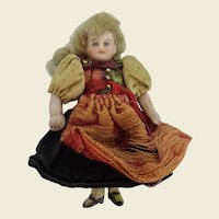French Lilliputian all bisque girl doll 2.5 inches