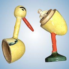Smallest doll in the world' peg wooden inside egg shaped stork