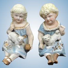 German Bisque piano Babies with a cat and dog