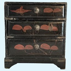 Large scale Dollhouse Oriental Lacquer chest of drawers