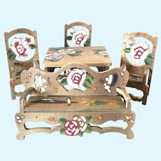 Hand painted large scale dollhouse folding furniture.