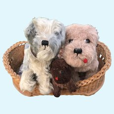 Three British soft toy dogs belonging to Constance Fraser,  one with Jaeger label collection also available