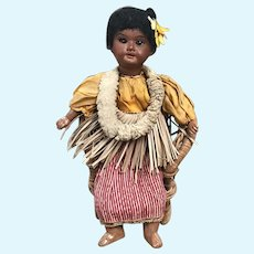 Armand Marseille 1894 doll dressed in Hawaiian  costume