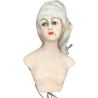 Wax over composition half doll head 5.25 inches tall