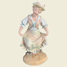 German Bisque  sailor girl  Figure doing rope dance